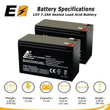 RAZOR E200 & E300S SCOOTER 12V 7.2ah Replacement Battery of 2 Pack