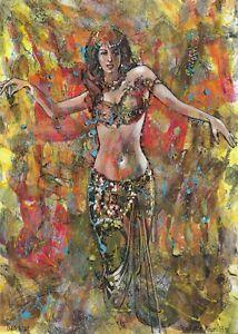 original painting 29,5 x 41 cm 191MG art modern Mixed Media Oriental dancer