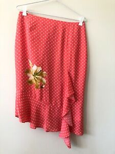 Covers Peach White Polka Dot Pencil Skirt Floral Size 10 Rockabilly Pin Up Zip