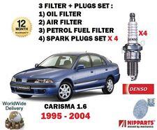 FOR MITSUBISHI CARISMA 1.6 1995-2004 OIL AIR FUEL 3 FILTER KIT + SPARK PLUG SET