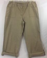 Jh Collectibles Size 12 Khaki Roll Up Capri Pants Crops Cotton Pockets Womens