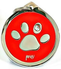 Personalised Engraved Pet ID Collar Tags Cat Dog Paw Design FREE UK DELIVERY