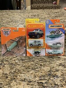 Five Matchbox Jeep Car Boat Chinook Trailer Helicopter National Parks Lot New