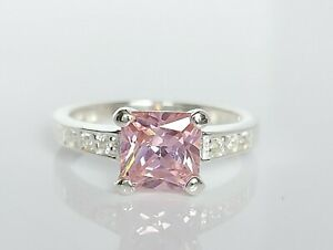 Beautiful Sterling Silver & Pink Simulated Diamond Cocktail Ring UK Size N/O