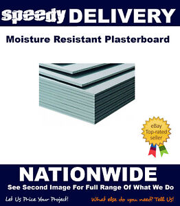 Moisture Resistant Plasterboards 8x4 (2400x1200) 12.5mm Thickness Tapered Edge