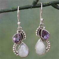 925 Silver 'Two Teardrops' Amethyst Rainbow Moonstone Dangle Earrings Jewelry TR