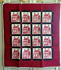 "Small Red Schoolhouse Quilt All Cotton Display Piece 43"" x 40"" Wall Hanging Deco"