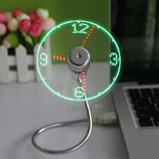 Mini USB Clock LED Cooling Flashing Fan Programmable Edit Word PC Laptop Desktop