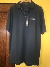 NEW PETER MILLAR MEN'S BLUE SUMMER COMFORT  LOGO POLO SHIRT SIZE LARGE  C8