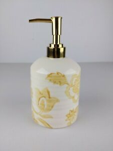 Threshold Soap Lotion Dispenser Bottle Floral Yellow Ivory Ceramic Gold Pump