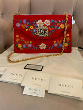 8f55f80487c66c New Gucci GG Medium Embroidered Floral Cat Crystal Leather Shoulder Bag Red  NWT!