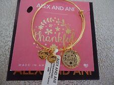 Alex and Ani THANKFUL Shiny Gold Charm Bangle New W/ Tag Card & Box