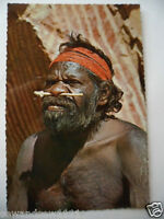 VINTAGE COLOUR PHOTO POSTCARD ABORIGINAL MAN with TRIBAL SCARS and BONE IN NOSE