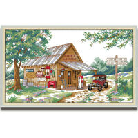 Counted Cross Stitch Kit Country Cabin Landscape Printed Unprinted 14CT 11CT