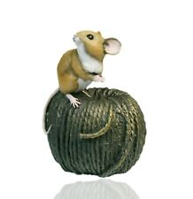 More details for mice cold cast bronze mouse on ball of twine - hand painted - michael simpson.