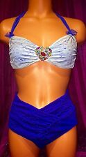 Pageant Chiffon Sexy Bling Jewel Rhinestone A B C Top Swimsuit Hi V Bikini L