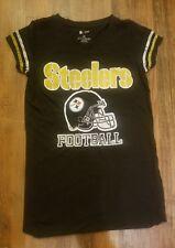 Pittsburgh Steelers Womens Helmet Logo V-Neck T-Shirt Small/Medium- NFL Black