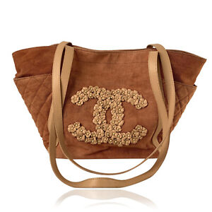 Authentic Chanel Quilted Cotton CC Light Brown Camellia Large Tote Shoulder Bag