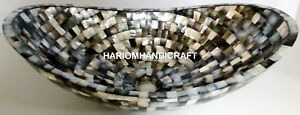 """15"""" Mother of Pearl Boat Shaped Stone Wash Hand Basins Inlay Restaurant Art E300"""