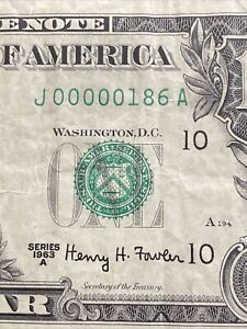 1963A $1  Super Low Number 00000186 XF!Top Rare!!
