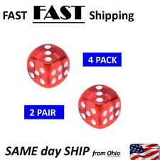 2 PAIR -- RED Square Transparent Dice Acrylic Craps Casino Bar Toy Game 14mm