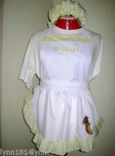 CUSTOMISED GOLDILOCKS COSTUME APRON & MOP TOP HAT Made 2 Fit In most colours