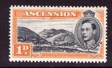 Ascension George VI SG39a 1d Blk/jaune orange, unique, Multi-couleur L/charnière