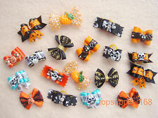 20 x new Dog bows pets Grooming hair Mix skull Halloween gift Pet Accessories