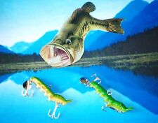 "CRAFTED ALL SEASON /ICE FISHING WALLEYE PIKE 3"" CUTWORM, GREEN CATAPILLAR  LURE!"