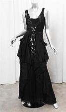 VALENTINO Black Silk Organza Sleeveless Sequin A-Line Formal Gown Dress 10