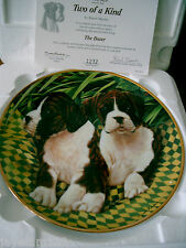 BOXER DOG COLLECTOR PLATE DANBURY MINT SIMON MENDEZ TWO OF A KIND BOXED + CERT