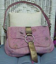 SHARIF designer pink dotted leather jeweled shoulder bag/tote