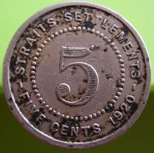 1920 Straits Settlement 5 Cent Coin Copper Nickle VF #B118