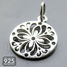 925 Sterling Silver PENDANT FLORAL ORNAMENT 17mm PENDANT Necklace Charms