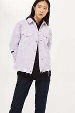 TOP SHOP Moto Lilac Lavender Distressed Denim Jean Jacket US Sz 8 $95 *NWT*