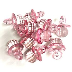 10 x Baby Pink CRYSTAL / Faceted Acrylic Dummy Charms Baby Shower
