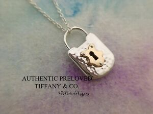 Authentic Tiffany & Co. Hammered Textured Mini Lock Rose Gold x Silver Necklace