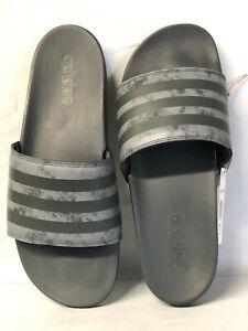 Mens Adidas Adilette Comfort Halo Silver Slides Athletic Sandal FZ1753 Size 8-12