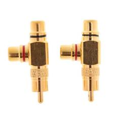 2x RCA Plug 1 Male to 2 RCA Socket Adaptateur femelle Connecteur plaqué or
