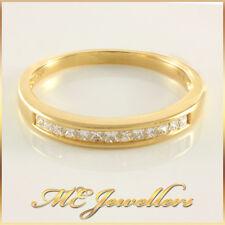 Ladies Solid Yellow Gold 13x 0.02ct Diamond Wedding Band 18k 18ct 18k Sz N 2.2G