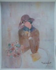Monique LEINERT Portrait de femme aux fleurs poster signé P1686