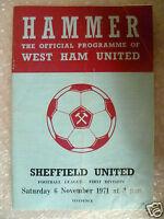 1971 WEST HAM UNITED v SHEFFIELD UNITED, 6 Nov (League Division One)