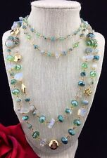 2 layers Green & Clear Long Chunky Glass Beads Gold Chain Statement Necklace
