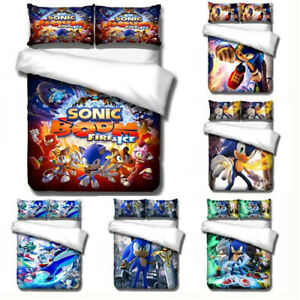 Single Double Full Size Quilt Cover Pillowcase 3D Soft Comfortable Sonic