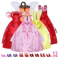 5Pcs Handmade Princess Party Gown Dresses Clothes 10 Shoes For Barbie doll Gift