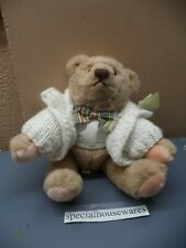 """Gund Tan Teddy Bear Wearing a Sweater and Bow Tie Movable Arms & Legs 11"""" NWT"""