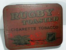 """Old RED 2oz RUGBY TOASTED """"Cigarette Tobacco"""" tin made Wellington NEW ZEALAND"""