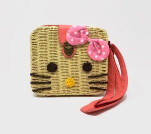 Handmade Women's Straw Kitty Crossbody Bag