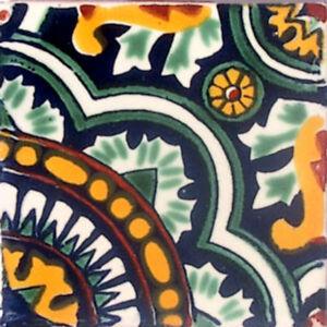 C#077) MEXICAN TILES CERAMIC HAND MADE SPANISH INFLUENCE TALAVERA MOSAIC ART