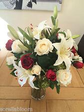 LARGE ARTIFICIAL FLOWER VASE ARRANGEMENT ROSE LILY & HOP SPRAY BOUQUET IN WATER